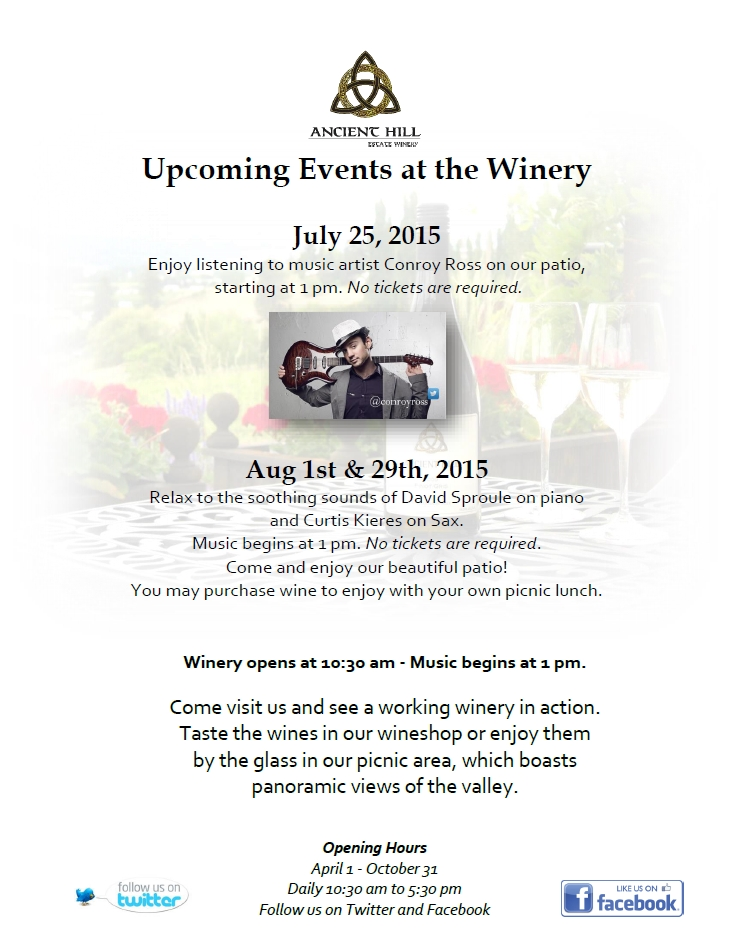 Ancient Hill_EVENTS_July-August 2015